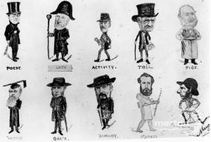 Collingsby Caricatures of ten eminent Mitcham residents