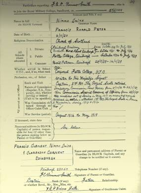 RMC Form 18A Personal Detail Sheets Jan-Sept 1919