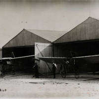 Liverpool Aviation School hangars and Bleriot monoplanes