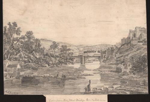 View from the new bridge Durham, 1879, Durham