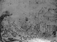 Collingsby cartoon: A Banke Holyday at Mytchamme AD 1580
