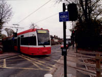 Tramlink Test Tram setting off from Beddington Lane towards Therapia Lane