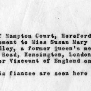 Written details of the engagement of Viscount Hereford.