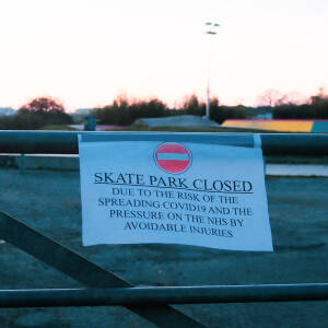 Closed sign, skate park, Holmer Road, Hereford