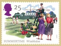 "Image of English postage stamp entitled ""Summertime at Wimbledon"""