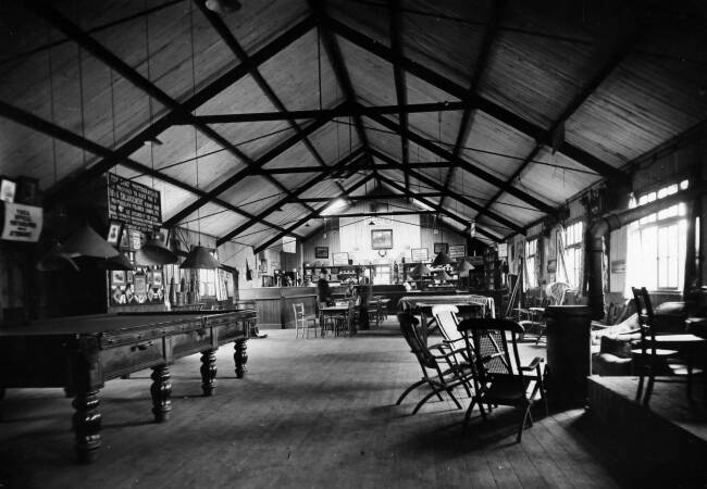 YMCA hut interior, military camp on Wimbledon Common