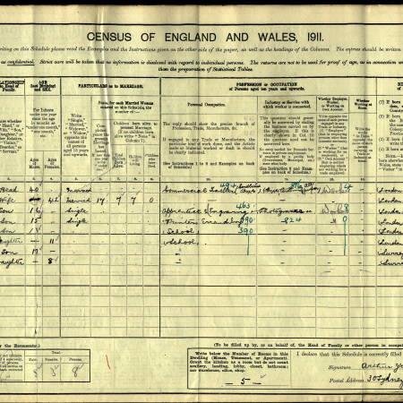 1911 Census - 30 Sydney Road, Merton
