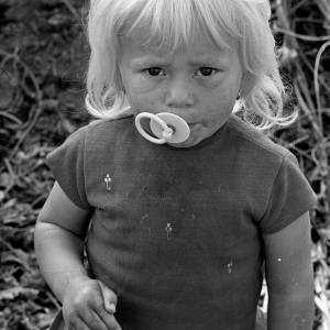 Blonde Little Girl with Dummy in a Herefordshire Hop Yard, 1967