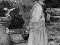 """Miss. F.E.Bennett: Painting titled """"The Squire's Daughter"""""""