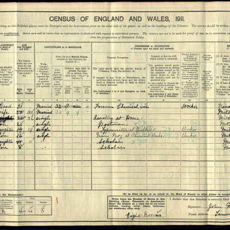 1911 Census for Tamworth House, Manor Lane, Mitcham