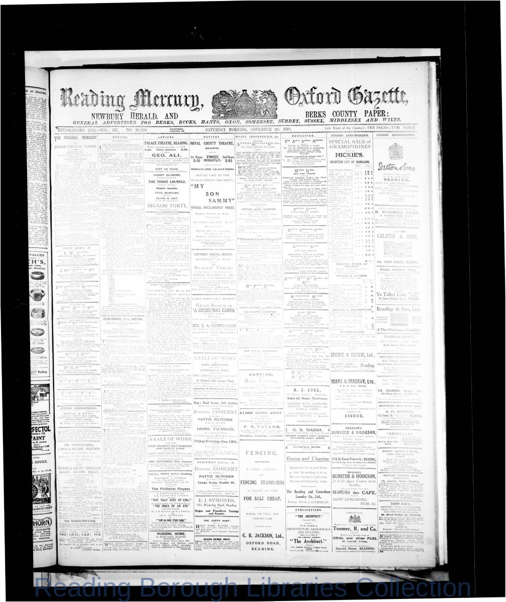 Reading Mercury Oxford Gazette  Saturday, November 29, 1919. Pg 1