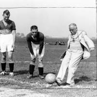 Mayor kicking ball at opening of Orrell Pleasure Ground, Bootle, 1936