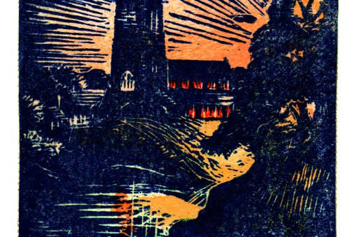 Lymm Church at night by Dorothea Rowlinson