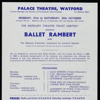Palace Theatre, Watford, October 1968