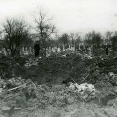 Crater in Harton Cemetery.