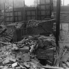 Bomb damage to back Queen Street and Station Approach.