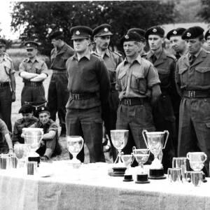 An army trophy presentation ceremony.