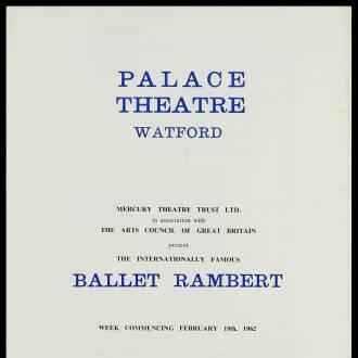Palace Theatre, Watford, February 1962