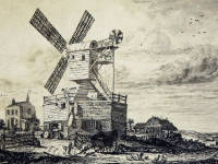 Wimbledon Windmill: Early print by George Cooke