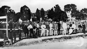 Old Mitcham.  Cricket on the Green c 1869