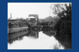 River Wandle and watermill near Goat Bridge, Mitcham
