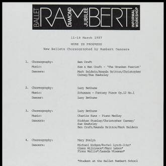 Rambert School, London, March 1987