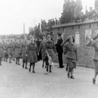Women's Royal Army Corps Marching at Bootle Victory Parade in 1945