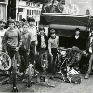 RG1895 Group of boys with BMX bikes outside coach, 28th July 1983.jpg