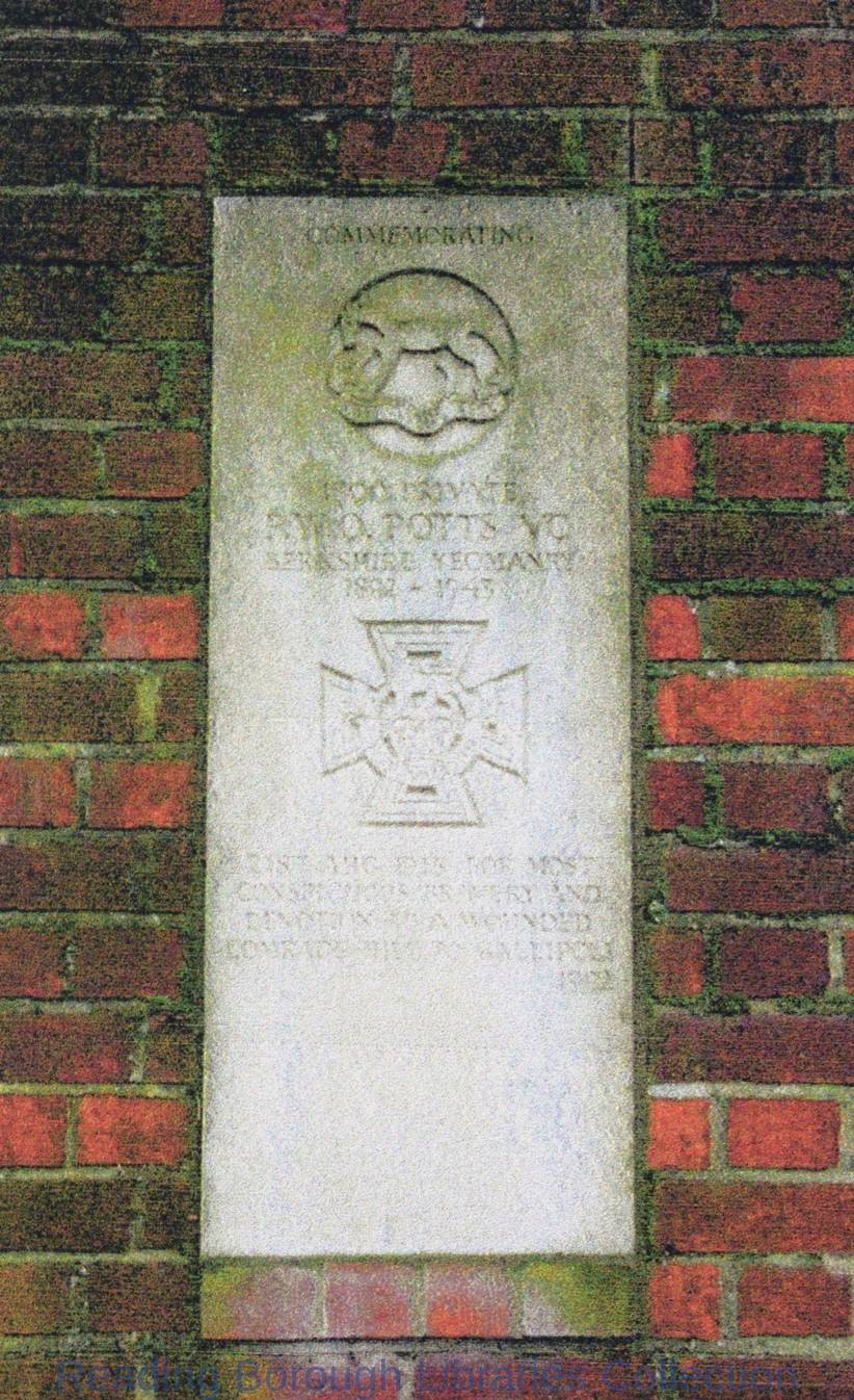 Brock Barracks memorial on the wall of the Keep to Frederick William Owen Potts, V.C.