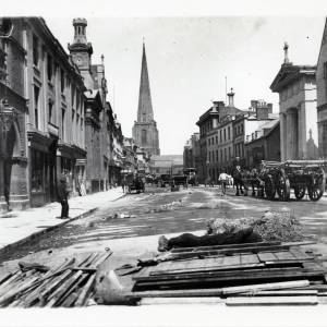 Clearing up of the May Fair, Broad Street, Hereford, c.1895
