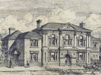 Wimbledon Town Hall: Etching of the original building
