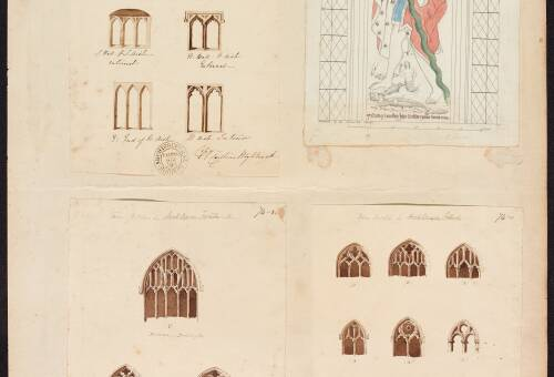 Various window sketches and  Wall Paintings, N. Aisle, St Christopher, Collumpton Church