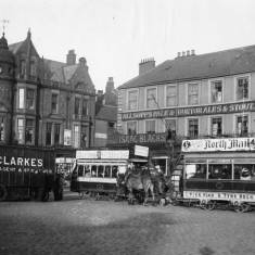 Horse-drawn tramcars in Market Place