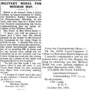 Newspaper Extract - Charles Edward Gibbs