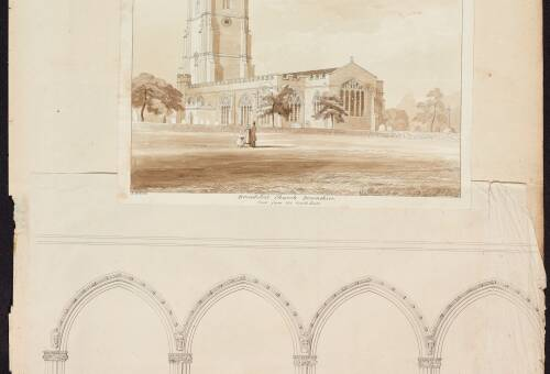 South East view and elevation of the four western arches south of the nave, Broadclyst Church