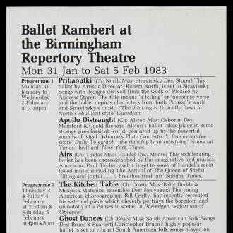 Birmingham Repertory Theatre,  January–February 1983