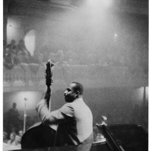 073 - Male black double bass player at concert