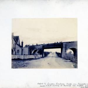 Loan30 Bedford & London Railway Bridge over Turnpike Road and the LNWR at Cowbridge nr Bedford, Built by Brassey & Ballard, 1866-7.jpg