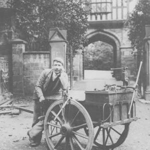 A pipe fitter outside the Bishop's Palace Hereford.
