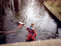Morden Road Bridge: Frogman Searching the Wandle