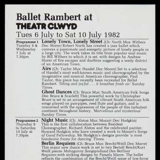 Theatr Clwyd, Mold, July 1982