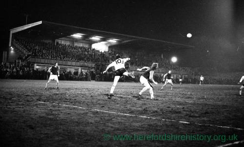 Bobby Moore clears for West Ham v Hereford United, Feb 1972.