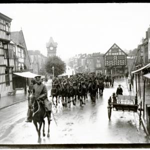 Mounted military procession, High Street (looking North), Ledbury