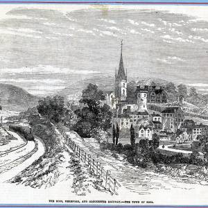 Ross Town, Herefordshire with railway line, 1855