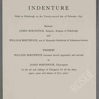 Indenture between Mr James Borthwick, chirurgian burgess of Edinburgh and Mr William Borthwick, son of Mr Alexander Borthwick of Johnstounbourne