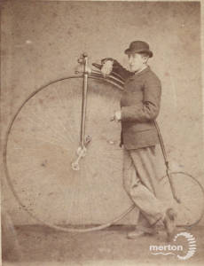 Cycling 1890's style bicycle, Penny Farthing