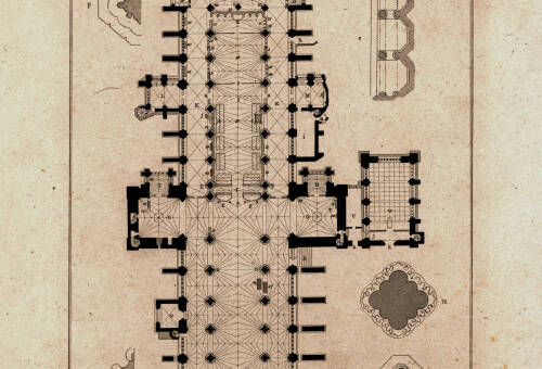 Exeter Cathedral Ground Plan, 1825, Exeter