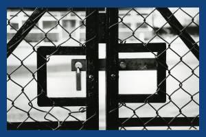 Iron gates to Mitcham Bowls Club