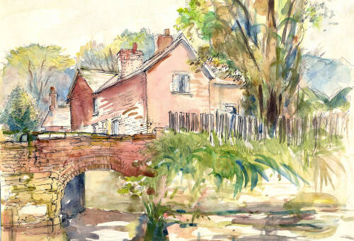 Watercolour of the Bridgewater Canal by Dorothea Rowlinson
