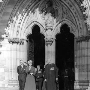 Queen and Duke of Edinburgh outside the west front of Hereford Cathedral